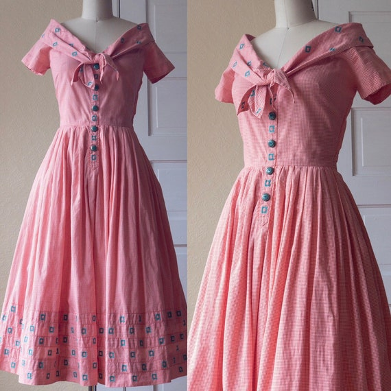 1950's Coral Gingham Carlye Dress with Turquoise D
