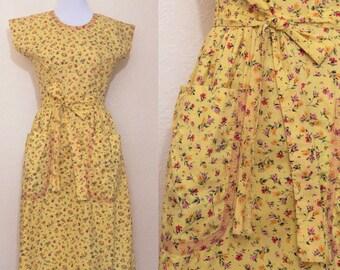 1950's yellow swirl wrap dress