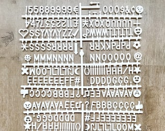 "Extra Letter Set of 340 - 3/4"" Characters for Felt Letter Boards-Includes Emojis, Punctuation, Numbers, Letters (BLACK or WHITE) - Helvetica"