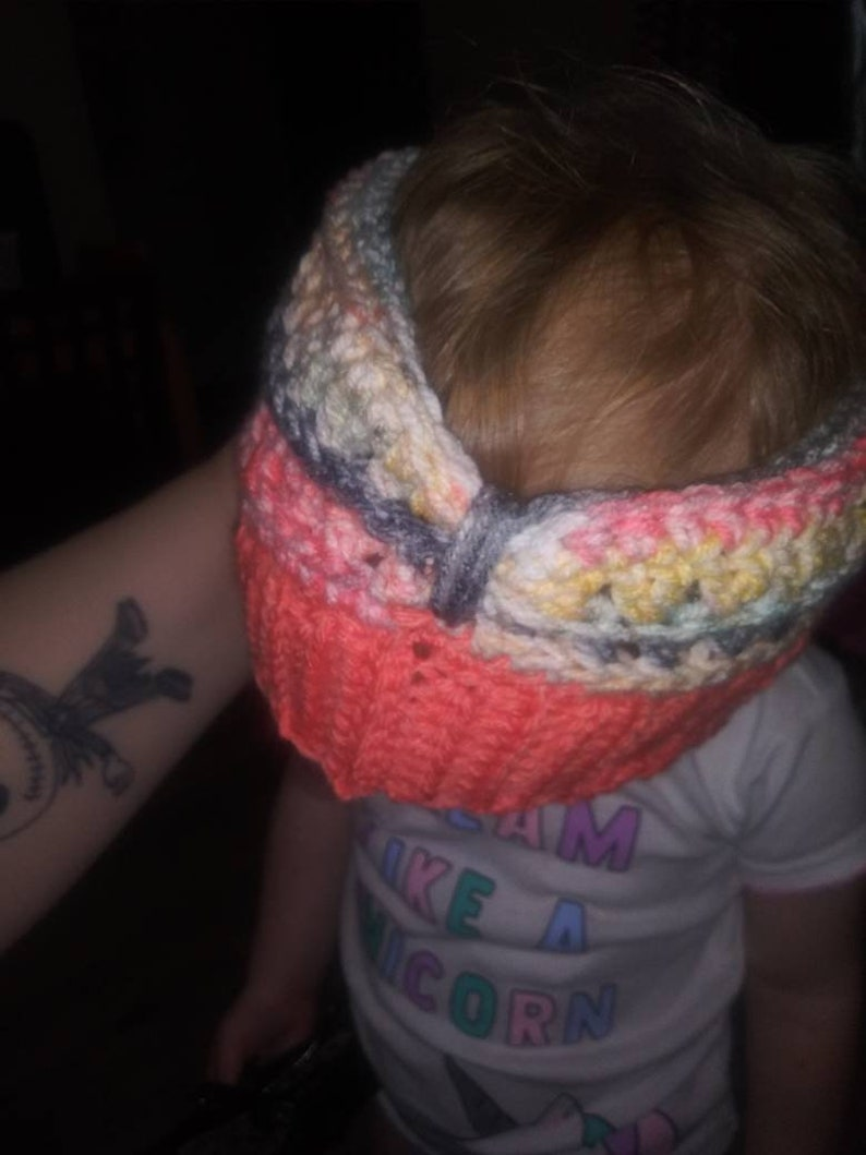 Multi colored with mango brim Toddler ear warmer headband