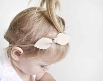BEIGE | Leather Knot Headband with soft Nylon Band | GENUINE leather | Knot Bow