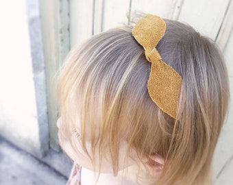 MUSTARD | Leather Knot Headband with soft Nylon Band | GENUINE leather | Knot Bow