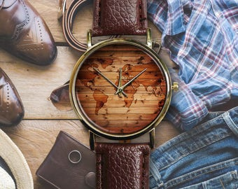 Vintage Montre Wooden World Map Unisex Ladies Mens Leather Custom Watch Engravable Emoji Band Natural Rustic Pallet Board Personalized Gift