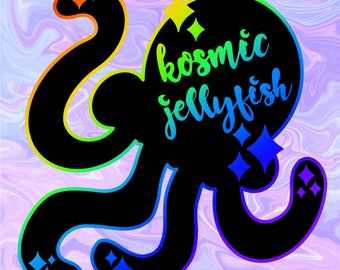 Kosmic Jellyfish Logo rainbow metal soft enamel pin *PREORDER*