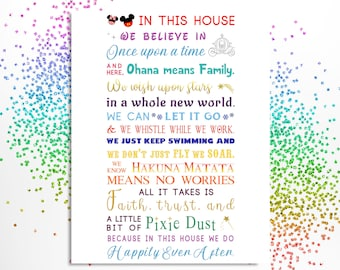 In This House Sign Printable Digital INSTANT DOWNLOAD PDF We Do Disney Home Decor Wall Art