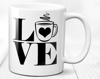 Love coffee mug / coffee mug / love mug / coffee lover gift / i love coffee mug / funny coffee mug / valentines day gift / 11 oz ceramic mug