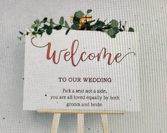 Welcome wedding sign decal. Wedding decals. Wedding sign decals. Wedding decor. Rose Gold wedding decal. Gold metallic wedding decals.