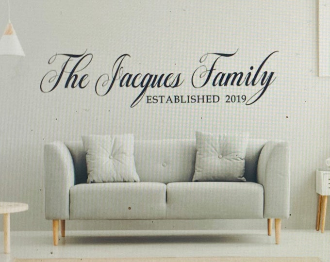 Family name decal. Last name decals. Family established date decals. Custom over the couch decals. Name wall decal.  Kitchen wall decal