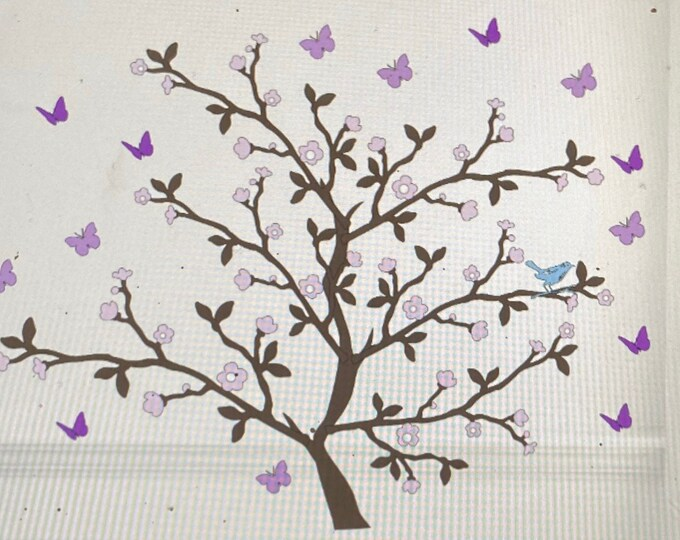 Butterflies with Cherry blossom tree decal. Choice of custom colors. Tree with butterflies decals. Bedroom wall decals. Butterfly decals