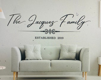 Family Name wall decal. Family name wall decals. Last name wall decal. Decal of name and date. Over the couch name decal.  Wall decals