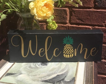 Pineapple Welcome  sign 4x12 block for shelf or hanging picture decoration home decor canvas signs