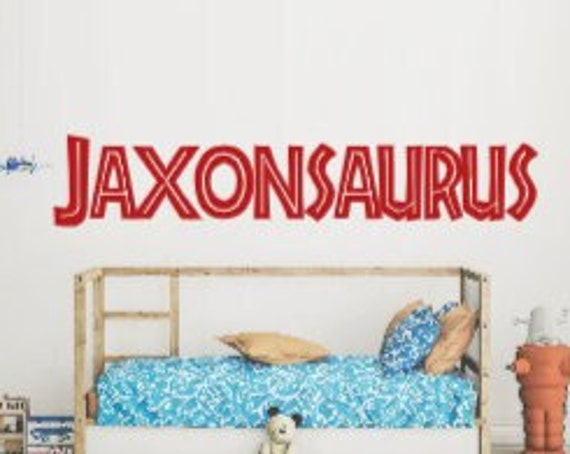 Jurassic Park name decal. Dinosaur wall decals. Kid's bedroom wall stickers.  Jurassic Park wall stickers. Jurassic Park wall decals.