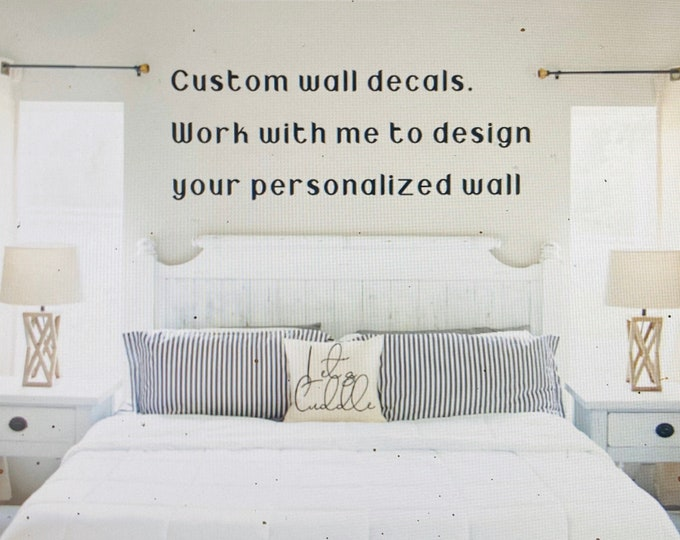 Custom master bedroom wall decal. Over the bed decals. Bedroom wall decals. Custom bedroom decals. Personaliized over the bed decal