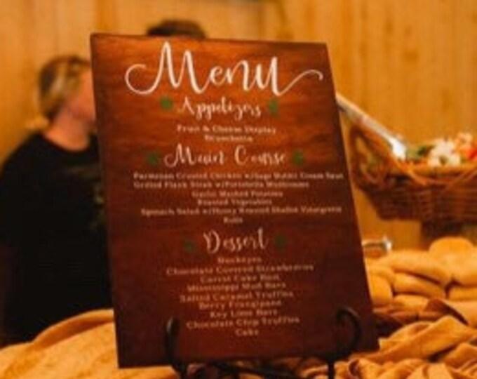 wood Wedding sign menu sign wood wedding decor wedding signs menu board wedding dinner menu wooden wedding signs