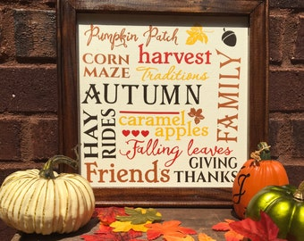 Fall  sign Autumn sign Autumn subway art word collage sign harvest hay rides thanksgiving pumpkin patch corn maze rustic fall signs