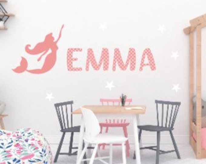 Mermaid wall decal with name. Mermaid wall decals with names. Mermaid decals. Name decals for children's room. Kids' room wall decals.