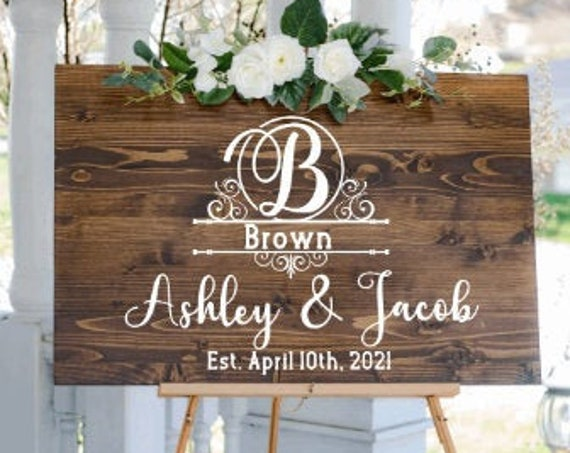 Welcome sign decals. DIY Wedding sign stickers. Monogram sign stickers. Wedding monogram decals.  Custom Wedding  decals with last name.
