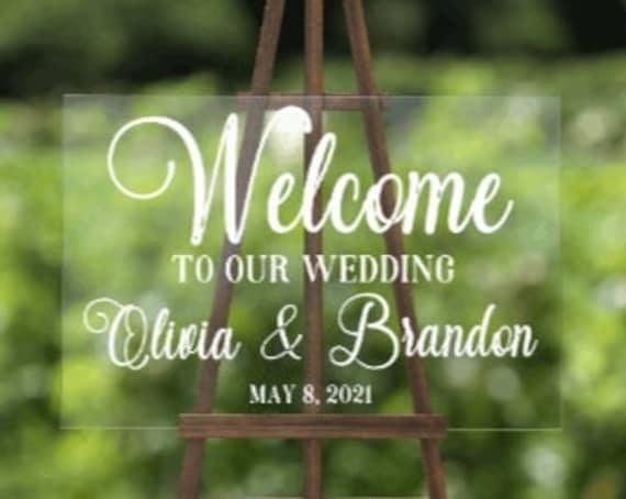 Wedding Welcome sign. Clear Acrylic Wedding sign. Acrylic wedding signs. Clear wedding welcome sign. Wedding signs. Custom wedding signs.