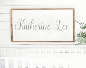 Name sign for nursery. Girl name sign. Wood name sign. wood framed. Nursery decor. Over the crib sign. Custom baby gift. Baby Name signs.
