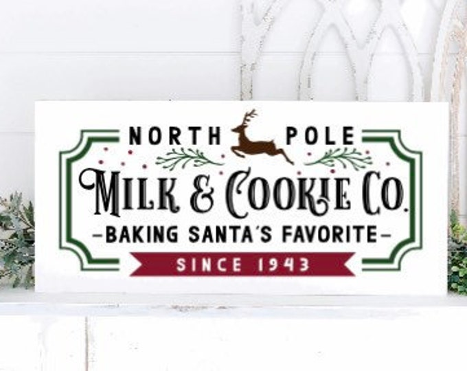 Wood Christmas signs. North Pole milk and cookies Co sign. Wood Christmas sign. Santa's cookie's sign. Christmas decor. North Pole sign.