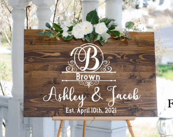 Welcome sign decals. DIY Wedding sign stickers. Monogram sign stickers. Wedding monogram decals.  Custom Wedding  decals with last name.