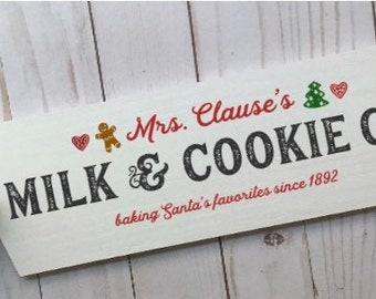 Christmas signs. Christmas cookies sign. Mrs Claus's milk & cookies. Christmas sign Santa's cookies sign Mrs. Claus's bakery Christmas decor