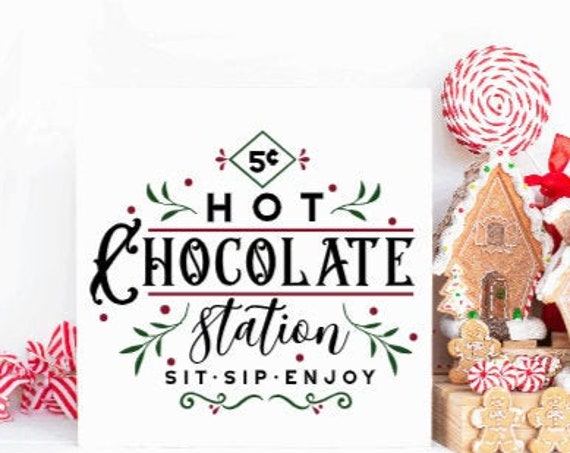 Hot Chocolate  sign. Hot Chocolate Station. Farmhouse Christmas. Modern Farmhouse Christmas. Hot Cocoa signs. Winter signs.