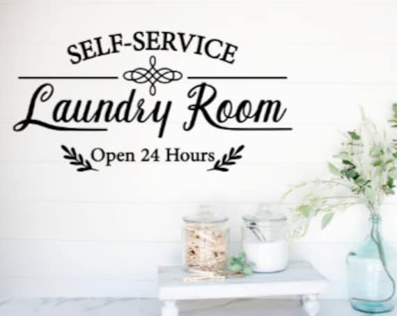 Laundry Room decal. Laundry sticker. Self Service Laundry. Open 24 hours. Laundry decals. Laundry room decals. Laundry room sticker for door