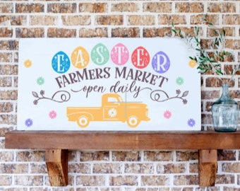 Wood Easter sign. Easter signs. Easter Farmer's Market. Farmhouse Easter decor. Easter decoration. Spring decor Easter wall decor.