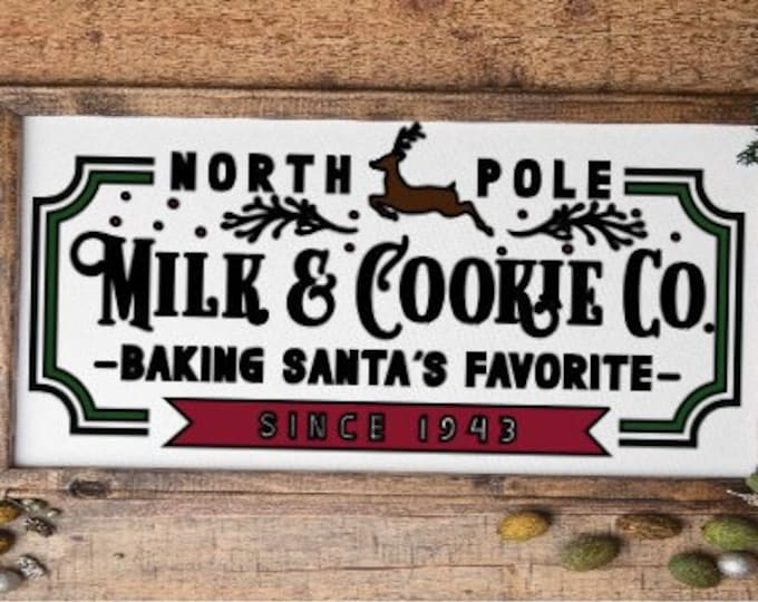 North Pole sign. Milk & Cookie company. Christmas sign. Christmas decor Christmas signs. North Pole signs  Baking Santa's cookies sign