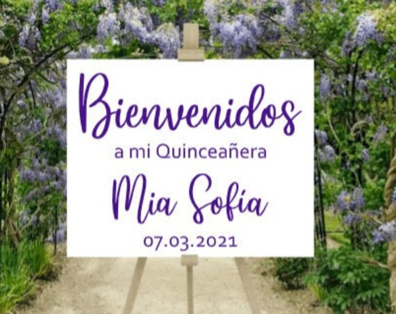 Bienvenidos sign stickers. DIY sign stickers. A Mi Quinceanera sign stickers. Spanish sign decals.  Quinceanera decals for sign. Custom