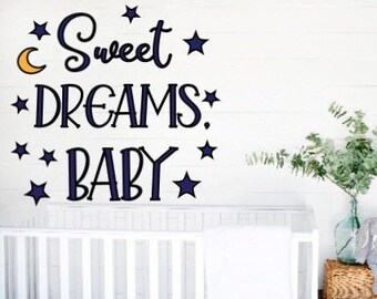 Sweet dreams baby wall decal over the crib decal wall sticker nursery room decor custom nursery decal