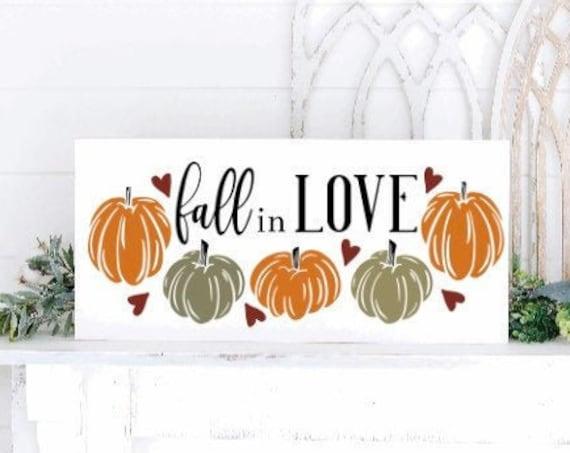 Fall in love sign. fall sign. fall signs. Fall sign with pumpkins. Fall decor. Autumn decor. Autumn signs. wood fall sign. fall shelf sign