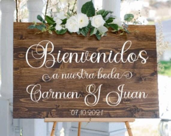 Bienvenidos a nuestra Boda sign. Bienvenidos signs. Wood wedding sign.  Spanish Wedding signs. A nuestra boda. Bienvenidos signs.