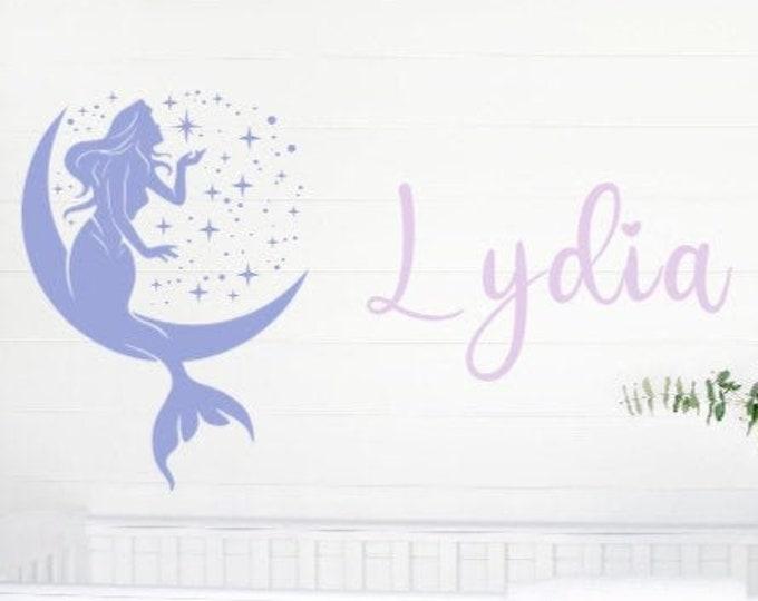 Mermaid wall decal with name. Custom mermaid wall decals. Name with mermaid bedroom wall decal. Wall stickers. Mermaid and moon decal
