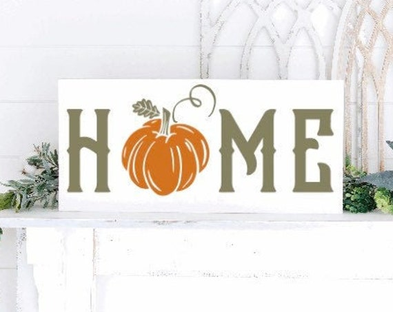 Fall Home sign with pumpkin. Fall signs. Fall sign. Pumpkin sign. Fall decor. Autumn decor. Large fall sign. Home sign for fall. fall shelf