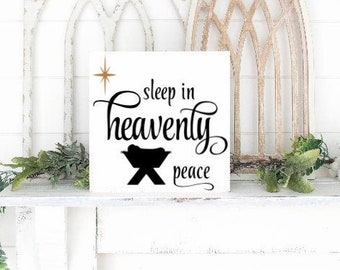 Christmas sign Sleep in Heavenly Peace Nativity sign baby Jesus picture Christmas decor Silent Night canvas sign Christmas signs