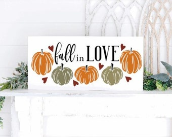 Fall in love sign. fall sign. fall signs. Fall sign with pumpkins. Fall decor. Autumn decor. Autumn signs. wood fall sign.