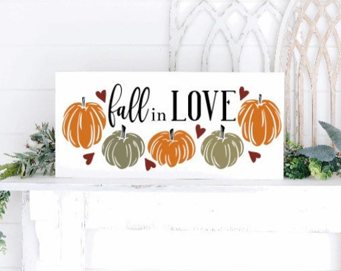 Fall in love sign. fall sign. fall signs. Fall sign with pumpkins. Fall decor. Autumn decor. Autumn signs. wood fall sign.