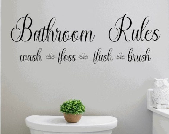 Bathroom rules decal.  Bathroom decals. Bathroom rules decals. Bathroom wash flush floss brush decal. Bathroom decor Bathroom wall decals