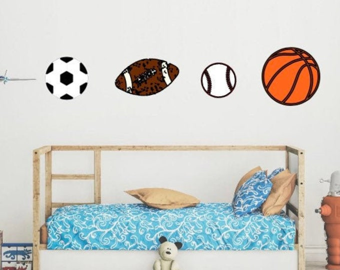 Sports ball wall decals. Baseball decals, football wall decals, soccer decals, basketball wall decal. Sports decals with name.