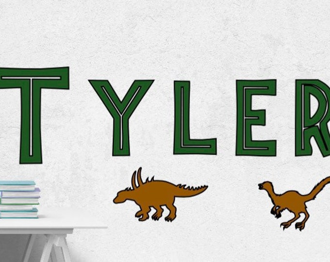 Jurassic Park name decal. Dinosaur wall decals. Kid's bedroom wall stickers. Dinosaur themed bedroom decor dinosaurs Jurassic Park themed