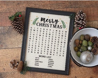Christmas word search signs  bathroom word search sign Christmas signs Holiday signs  crossword sign Christmas bathroom signs restroom sign