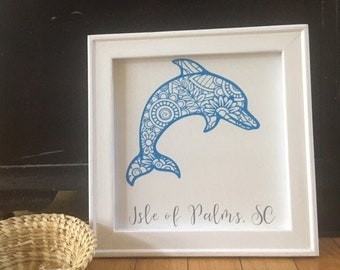 Dolphin mandala zentangle framed canvas custom town. Hilton Head, Isle of Palms, Folly Beach, Nags Head, etc. beach city