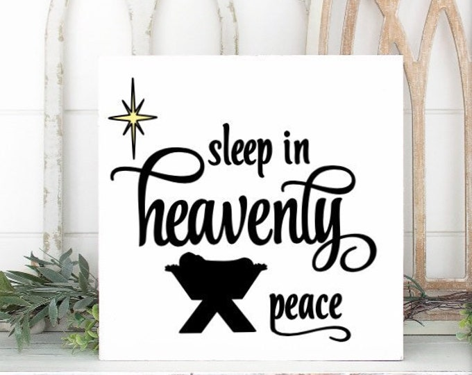 Christmas sign Sleep in Heavenly Peace Nativity sign baby Jesus picture Christmas decor Silent Night