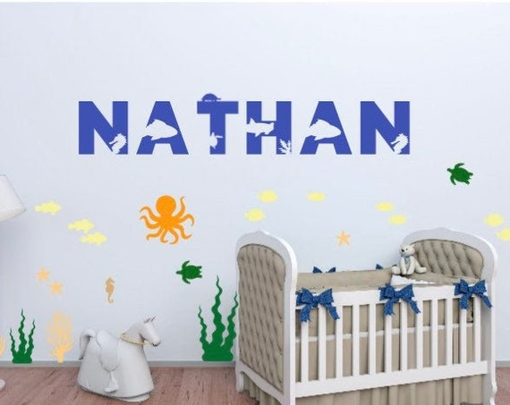 Ocean themed name wall sticker. Ocean wall decals. Nursery name stickers. Underwater name stickers. Name decals. Wall decals for bedroom