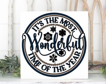 Winter sign It's the most wonderful time of the year. Canvas sign Christmas sign Winter decor Christmas decor Winter signs