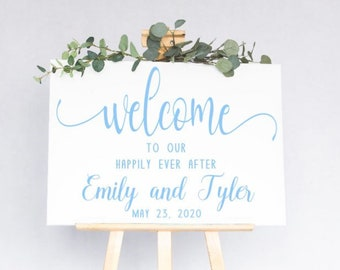 Welcome wedding sign decal.  DIY Wedding decals. Welcome to our Happily Ever After decal. Welcome decals. Wedding sign stickers Custom decal