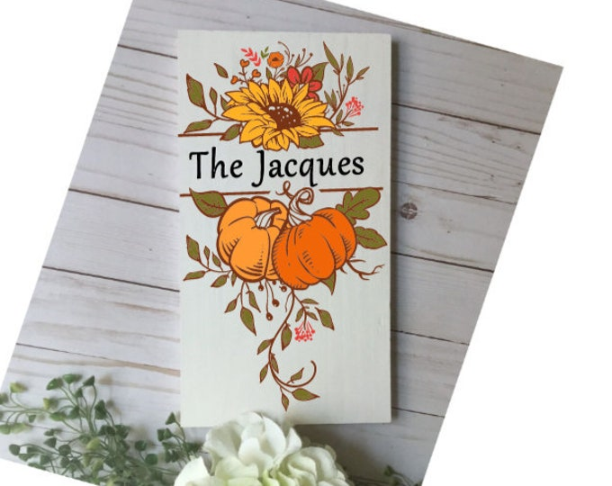 personalized fall family name sign. Fall monogram sign. Last name sign for fall. Autumn signs. custom fall signs. Custom fall sign.