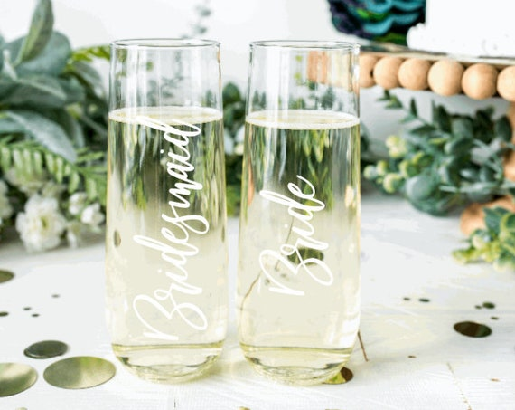 Wedding party decals. Personalized wedding glass decals. Decals for champagne glasses. Bridal party stickers. Custom wedding stickers. Wine